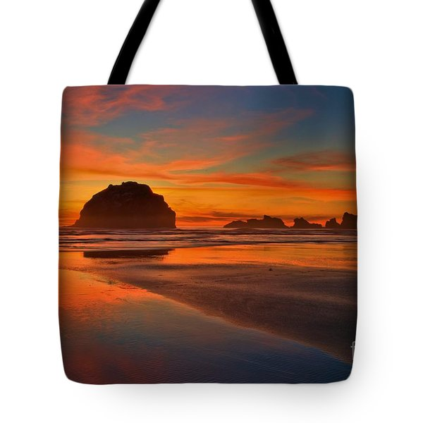 Fiery Ocean Stream Tote Bag by Adam Jewell