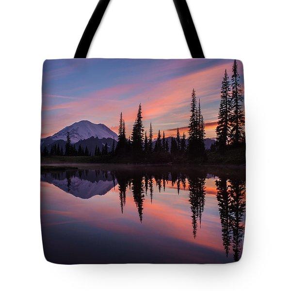 Fiery Rainier Sunset Tote Bag