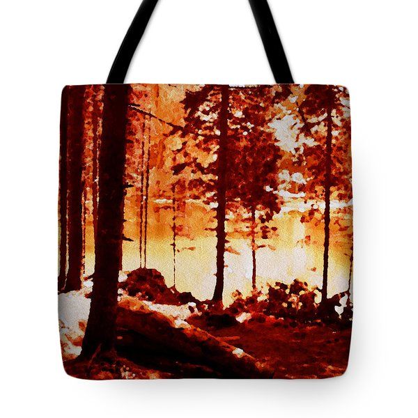 Fiery Red Landscape Tote Bag
