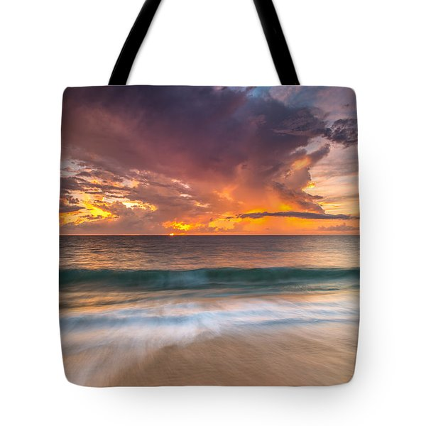 Fiery Skies Azure Waters Rendezvous Tote Bag