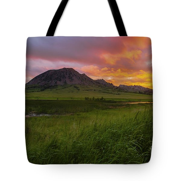 Fiery Sky Over Bear Butte Tote Bag