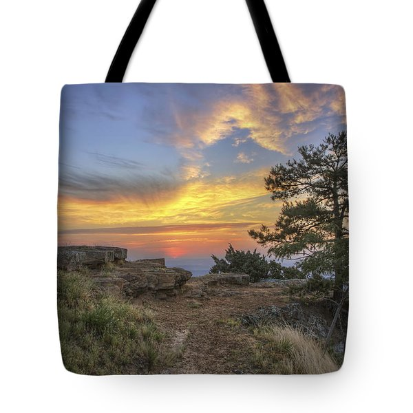 Fiery Sunrise From Atop Mt. Nebo - Arkansas Tote Bag