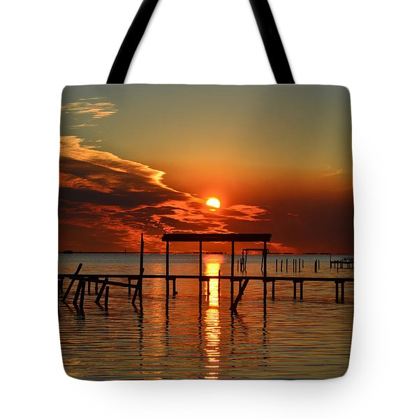 Fiery Sunset Colors Over Santa Rosa Sound Tote Bag by Jeff at JSJ Photography