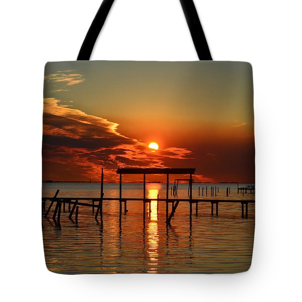 Fiery Sunset Colors Over Santa Rosa Sound Tote Bag