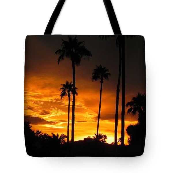 Fiery Sunset Tote Bag by Deb Halloran