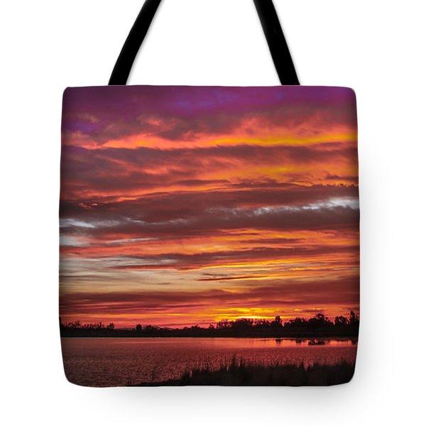 Fiery Sunset Tote Bag by Robert Bales