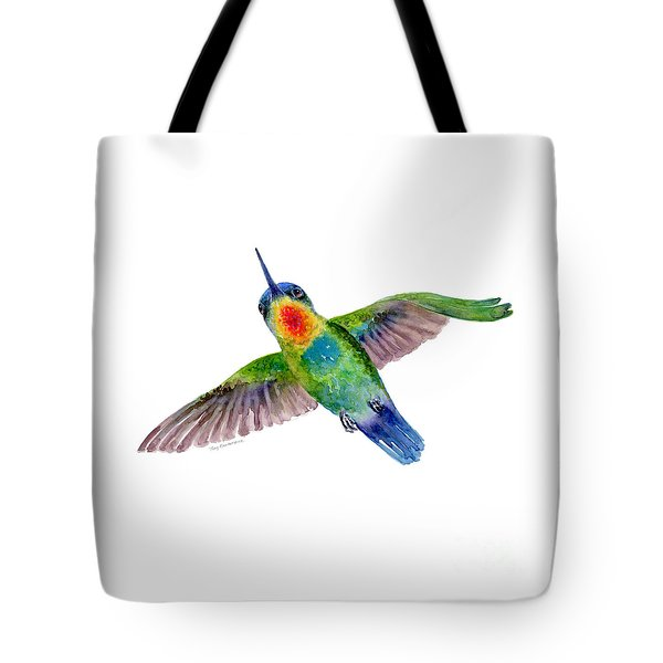 Fiery-throated Hummingbird Tote Bag by Amy Kirkpatrick