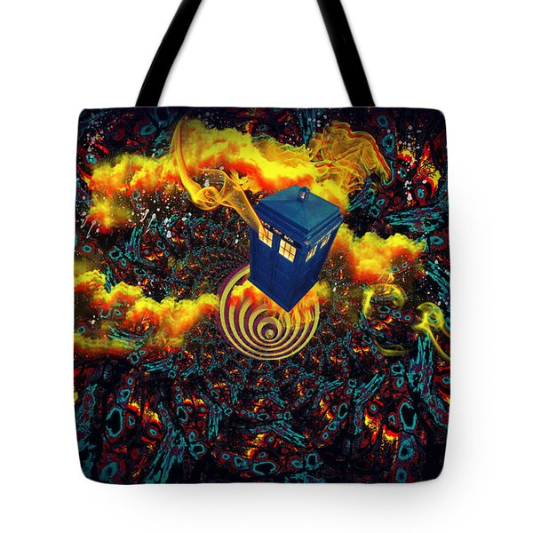 Fiery Time Vortex Tote Bag