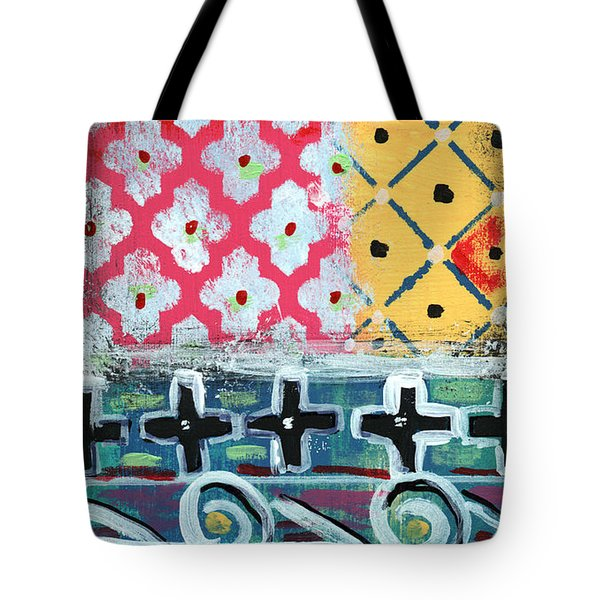 Fiesta 6- Colorful Pattern Painting Tote Bag by Linda Woods