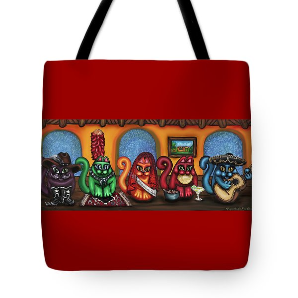 Fiesta Cats Or Gatos De Santa Fe Tote Bag by Victoria De Almeida