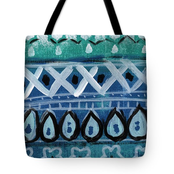 Fiesta In Blue- Colorful Pattern Painting Tote Bag