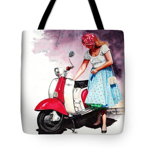 Fifties Lambretta Girl Tote Bag