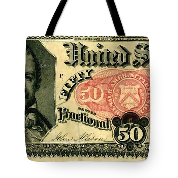 Fifty Cents 5th Issue U.s. Fractional Currency Fr 1381 Tote Bag by Lanjee Chee
