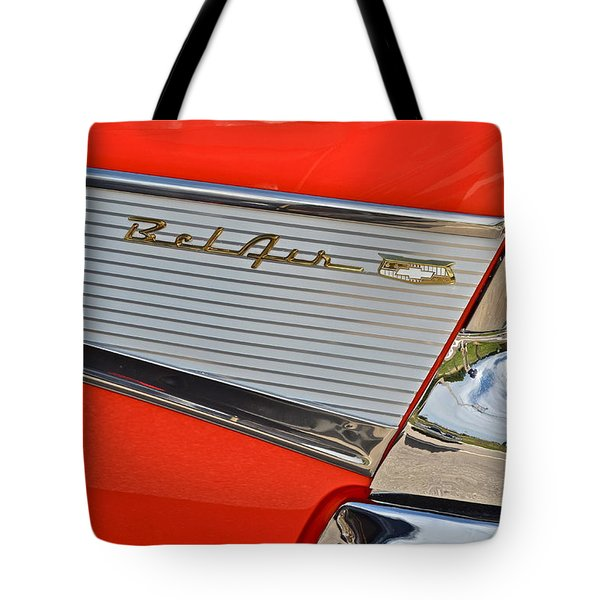Fifty Seven Chevy Bel Air Tote Bag by Frozen in Time Fine Art Photography