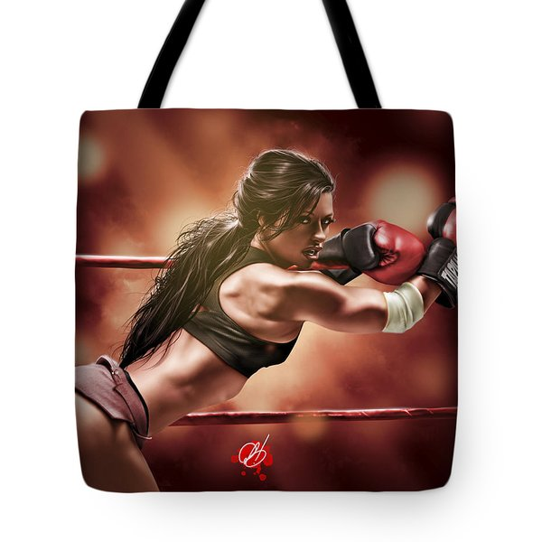 Tote Bag featuring the painting Fight Night by Pete Tapang