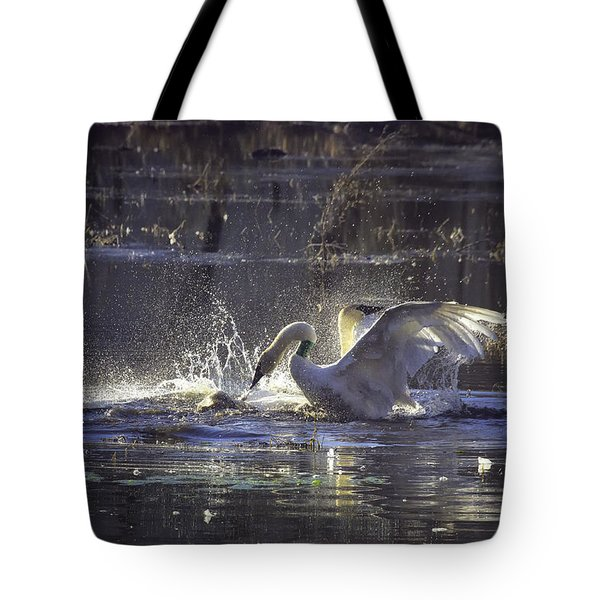 Fighting Swans Boxley Mill Pond Tote Bag