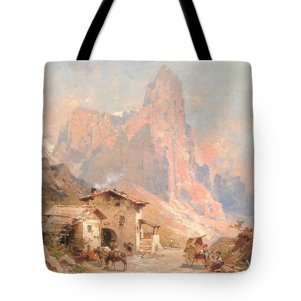 Figures In A Village In The Dolomites Tote Bag by Franz Richard Unterberger