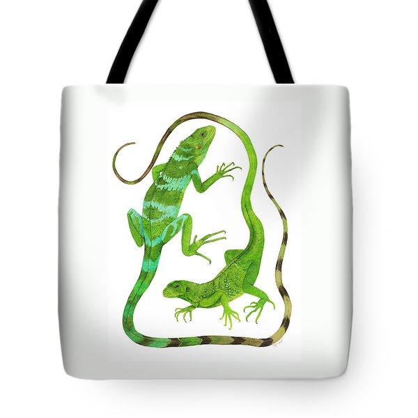 Fijian Iguanas Tote Bag by Cindy Hitchcock