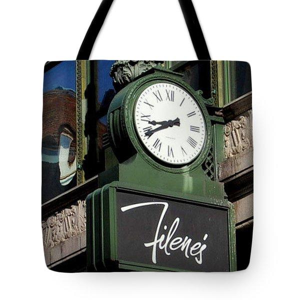 Tote Bag featuring the photograph Filene's Basement Clock by Caroline Stella
