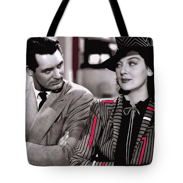 Film Homage Cary Grant Rosalind Russell Howard Hawks His Girl Friday 1940-2008 Tote Bag