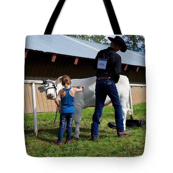 Final Touches On The Charolais Heifer  Tote Bag