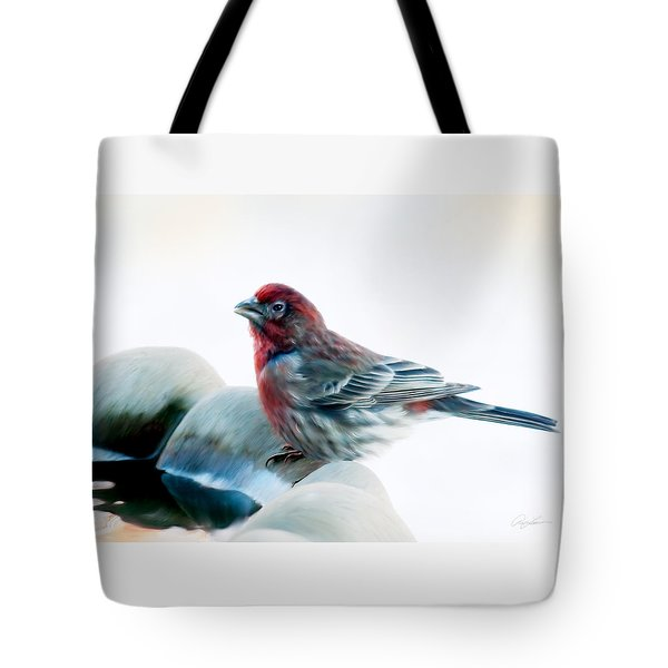 Tote Bag featuring the digital art Finch by Ann Lauwers