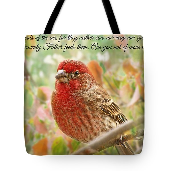Finch With Verse New Version Tote Bag