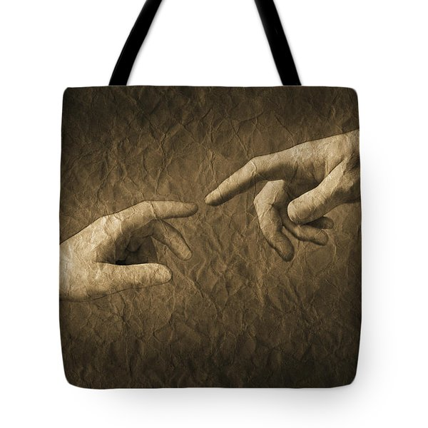 Fingers Almost Touching Tote Bag by Don Hammond