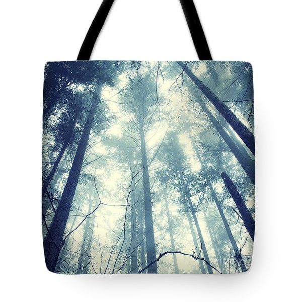 Fir Forest Fog - Hipster Photo Square Tote Bag
