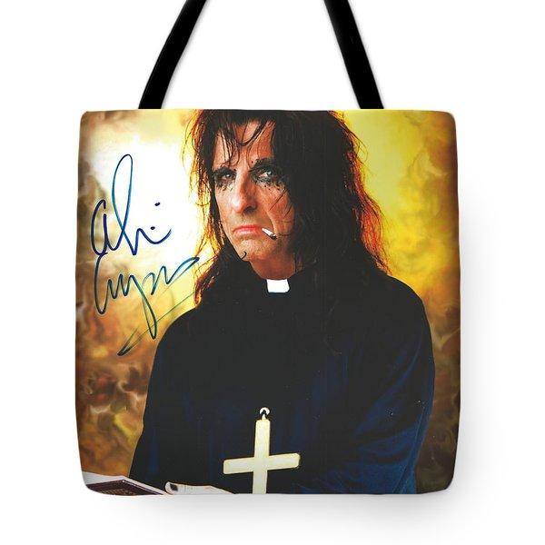 Fire And Smoke Priest Alice Cooper Original Signature On Glossy Photo Tote Bag