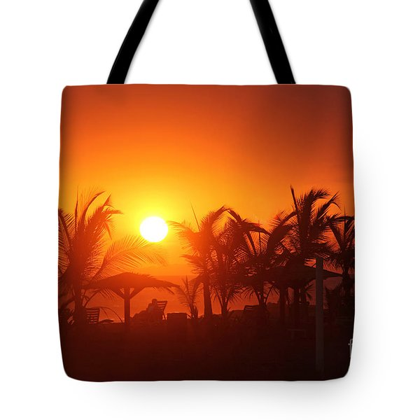 Fire Ball Sunset Tote Bag by Bob Hislop