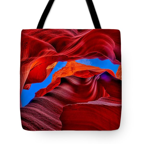 Fire Beneath The Sky In Antelope Canyon Tote Bag