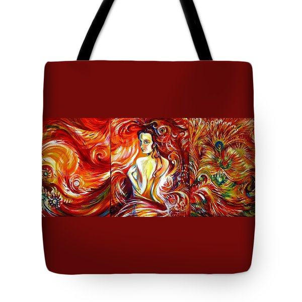 Tote Bag featuring the painting Fire Bird. Zhar-ptitsa. Triptych by Anna  Duyunova