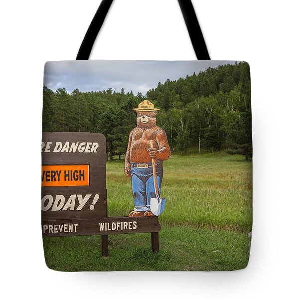 Tote Bag featuring the photograph Fire Danger Sign  by Bryan Mullennix