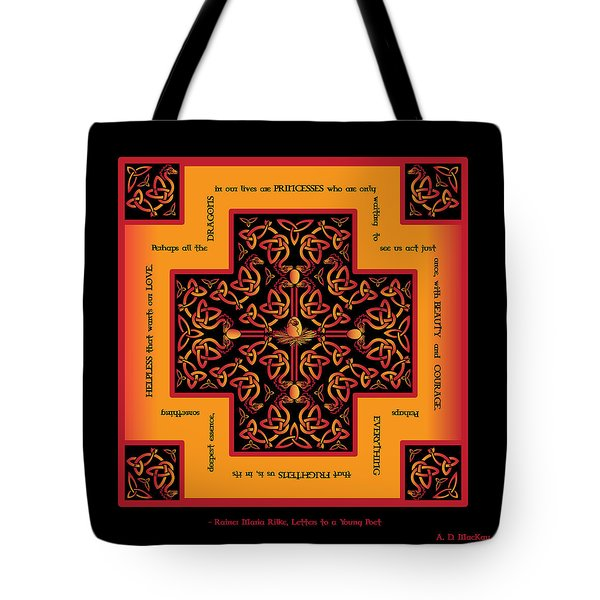 Fire Dragon Celtic Cross Tote Bag