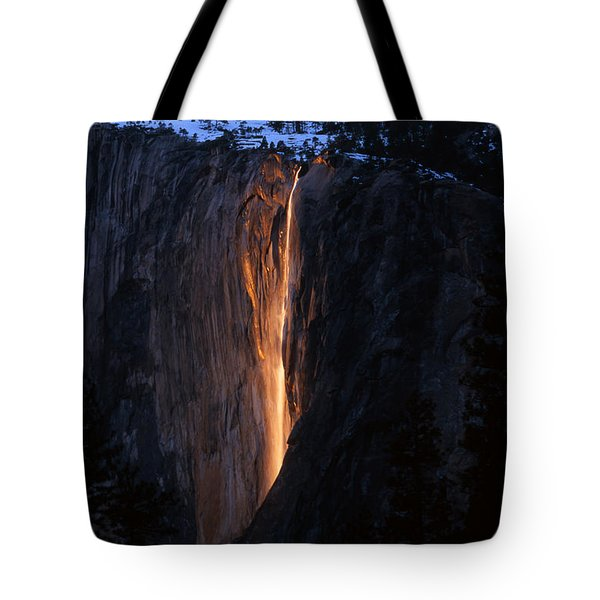 Fire Falls In Yosemite  Tote Bag