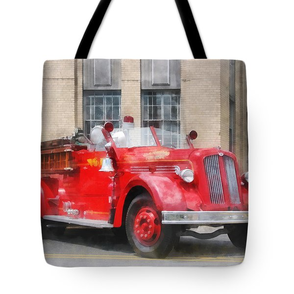 Fire Fighters - Vintage Fire Truck Tote Bag by Susan Savad