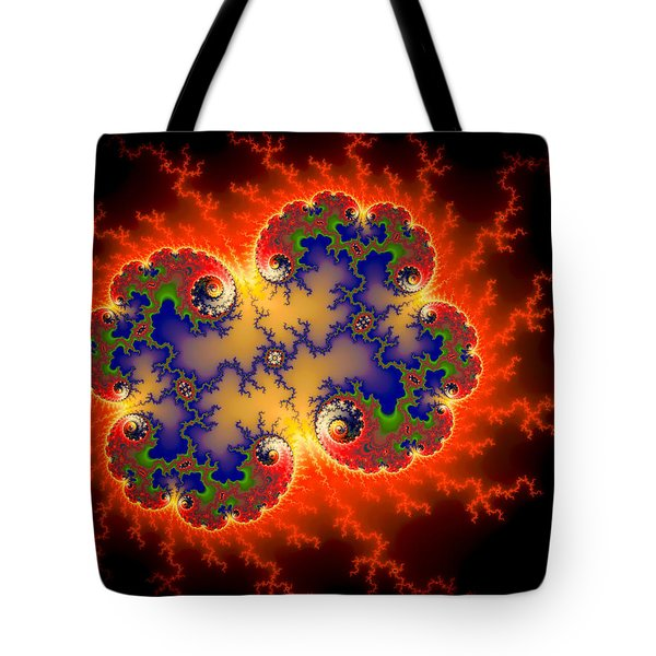 Fire Flashes Abstract Fractal Art Red Black Blue Tote Bag