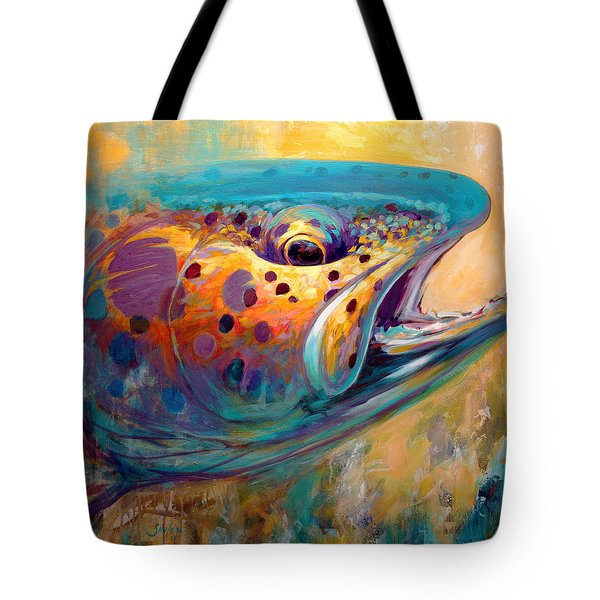 Fire From Water - Rainbow Trout Contemporary Art Tote Bag by Savlen Art