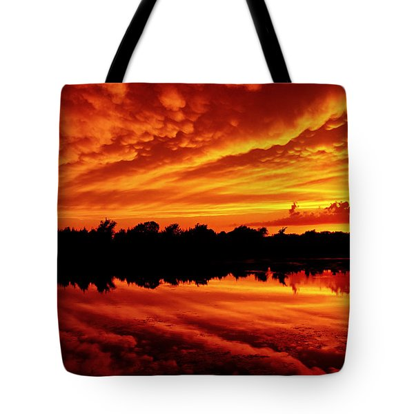 Fire In The Sky Tote Bag by Jason Politte