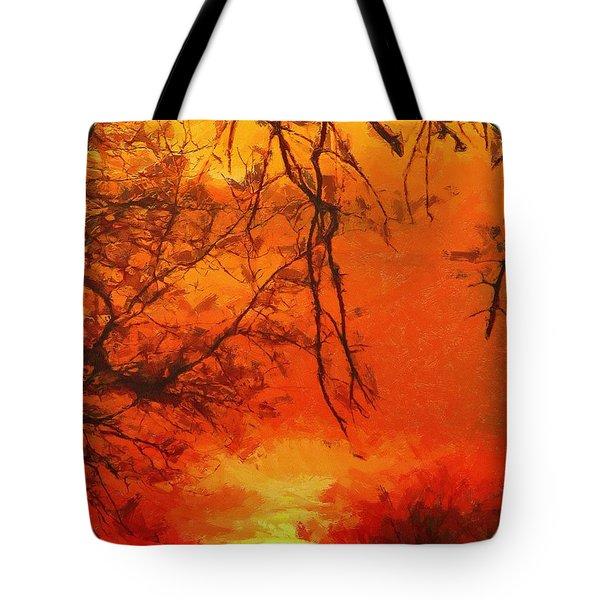 Fire In The Sky Tote Bag by Jeffrey Kolker