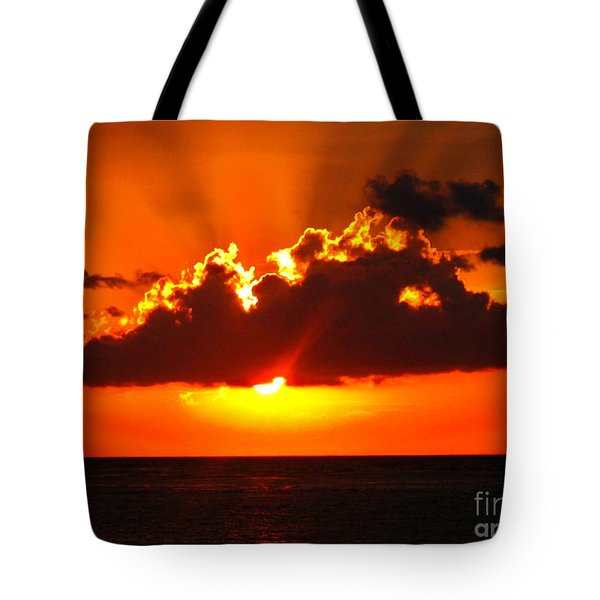 Fire In The Sky Tote Bag by Patti Whitten