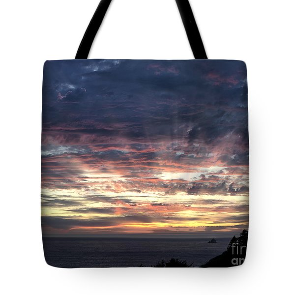 Fire In The Sky Tote Bag by Sandra Bronstein