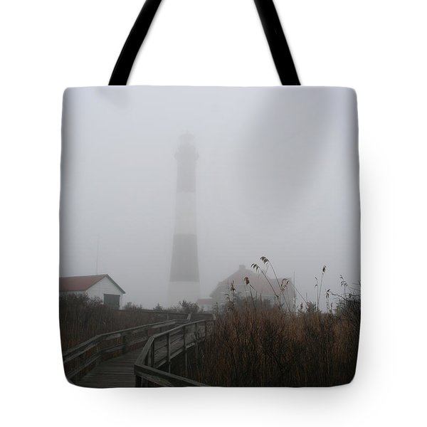 Fire Island Lighthouse In Fog Tote Bag by Karen Silvestri