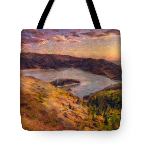 Fire Lake At Sunset Tote Bag