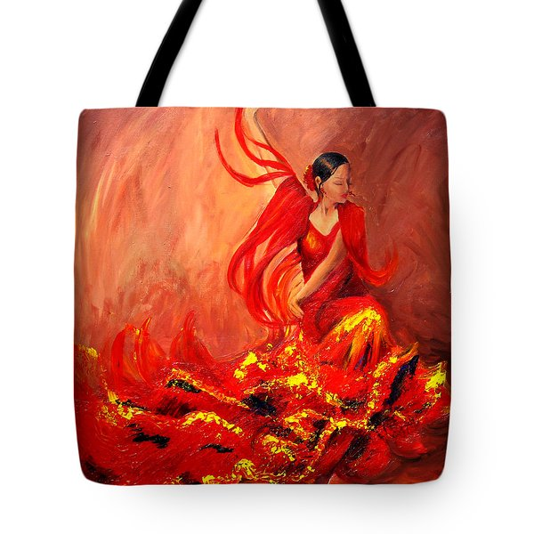 Fire Of Life Flamenco Tote Bag