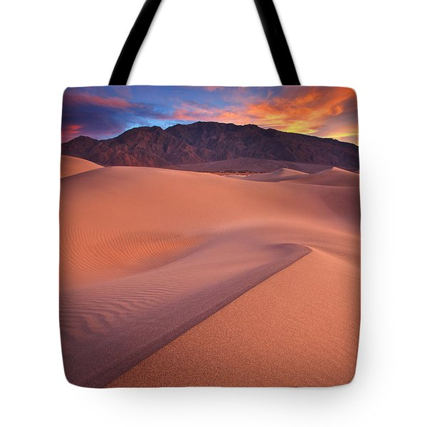 Fire On Mesquite Dunes Tote Bag