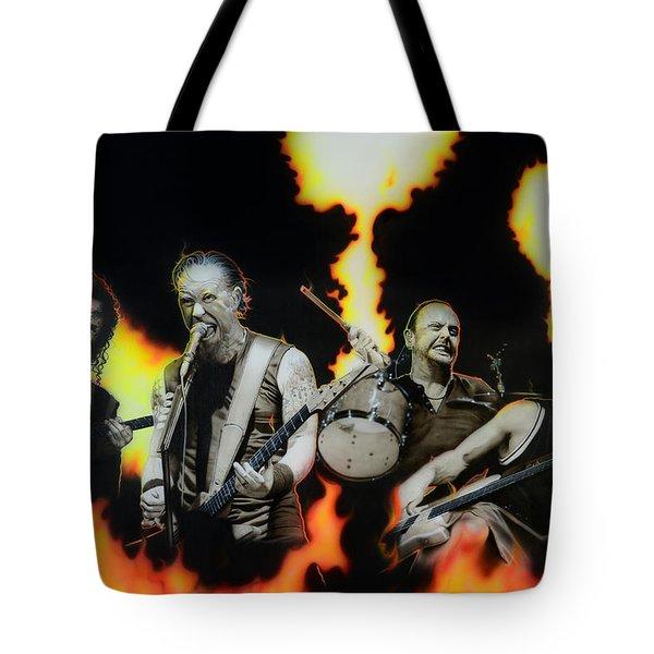 Metallica - ' Fire Rain On Me ' Tote Bag by Christian Chapman Art
