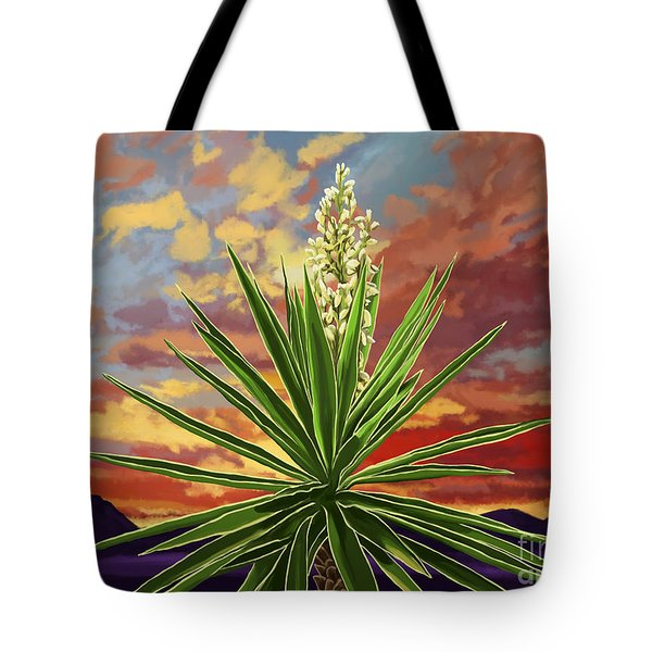 Fire Sky Desert Blooming Yucca Tote Bag by Tim Gilliland
