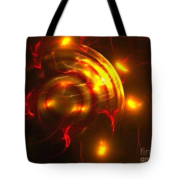 Tote Bag featuring the digital art Fire Storm by Victoria Harrington
